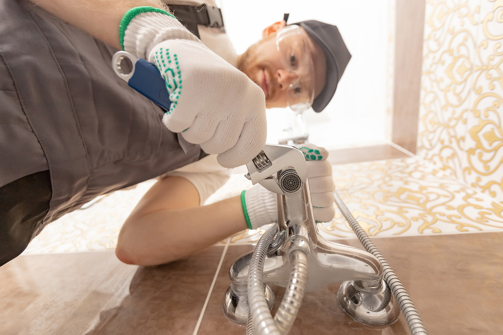 plumber while working